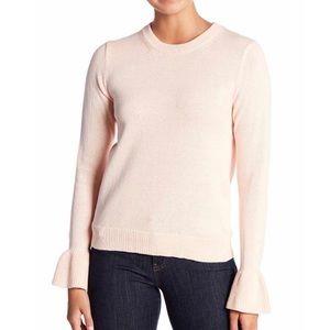 J.Crew Pink Ruffle Cuff Sweater